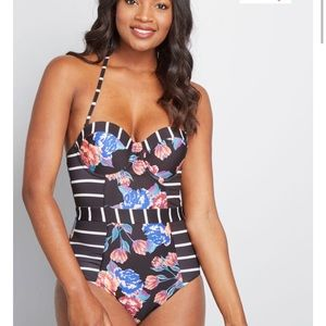 ModCloth Black Floral Stripped One-Piece Swimsuit